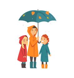 three children under an umbrella cartoon vector image