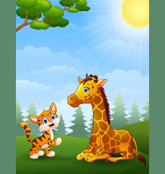 Tiger and giraffe cartoon in the jungle vector