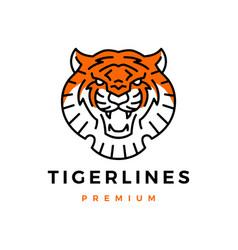 tiger head monoline logo icon vector image