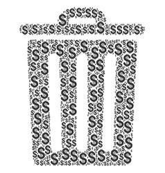 Trash bin collage of dollar vector