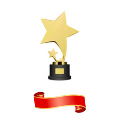 Trophy or award statuette with shooting stars vector