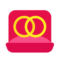 two wedding golden rings in a pink vector image