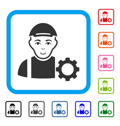 User options gear framed glad icon vector