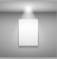 Vertical frame on the wall with light on gray vector
