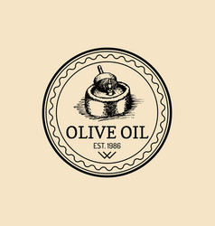 vintage olive logo retro emblem with rural vector image