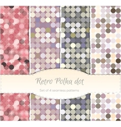 Vintage polka dot seamless patterns set of four vector image