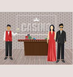 Waiters inviting people in casino luxury vector