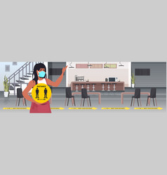 Waitress in mask holding yellow sign keeping vector