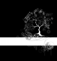 white tree on black vector image