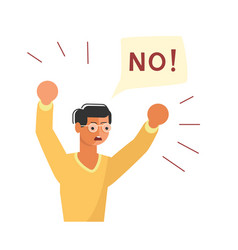 young man with fist raised in the air say no vector image
