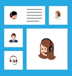 flat hotline set of operator headphone vector image vector image