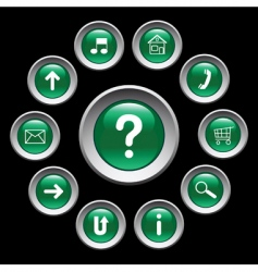 glossy green buttons with symbols vector image
