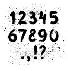hand drawn ink brush numbers vector image