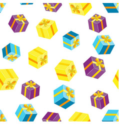 seamless pattern with packages gifts vector image vector image