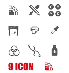 white polygraphy icon set vector image