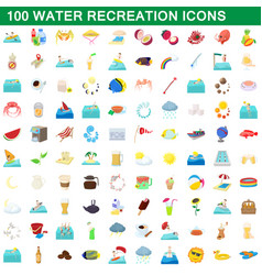 100 water recreation icons set cartoon style vector image vector image