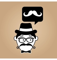 cartoon hipster mustache retro background vector image