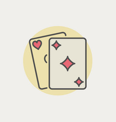 colorful playing cards icon vector image vector image