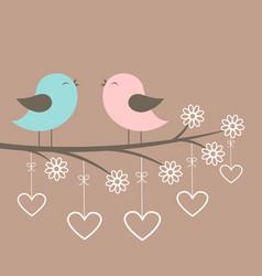couple of cute birds sing vector image