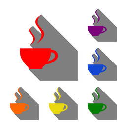 cup of coffee sign set of red orange yellow vector image