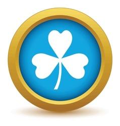Gold shamrock icon vector image