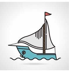 Sailing yacht flat icon vector image vector image