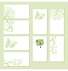 Set of business cards floral ornament vector image