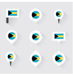 bahamas flag and pins for infographic and map vector image