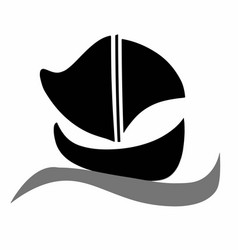 black boat silhouette vector image