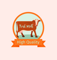cow orange label design vector image