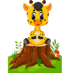 cute baby giraffe sitting on tree stump vector image vector image