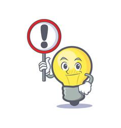 Light bulb character cartoon with sign vector