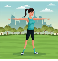 woman sport park urban image vector image