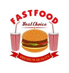 Cheeseburger and soda drink for fast food menu vector image