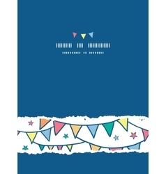 Colorful doodle bunting flags vertical torn vector image