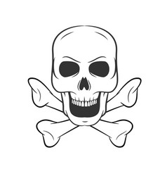 hand drawn skull with bones icon on white vector image