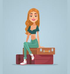 happy smiling traveler woman character vector image