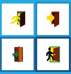 icon flat door set of evacuation entry entrance vector image