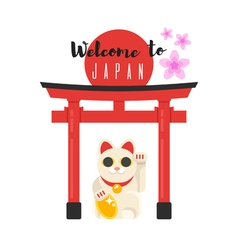 Japanese traditional gate with lucky cat vector