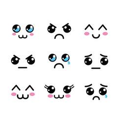 kawaii faces eyes icon vector image