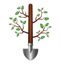 shovel with branches and leaves for the garden vector image