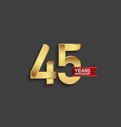 45 years anniversary simple design with golden vector