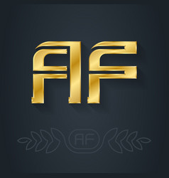 a and f initial golden logo af - metallic 3d icon vector image
