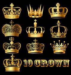 a set of gold crowns on a black background vector image