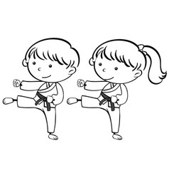 A sketch karate kids vector