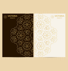 a4 format cards decorated with mandala in golden vector image