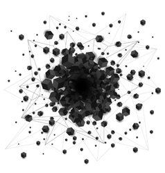 Abstract black shaded cubes explosion with hole in vector