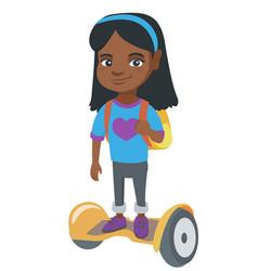 African schoolgirl riding on gyroboard to school vector