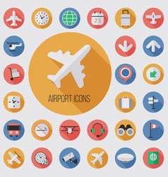 airport flat digital icon set vector image
