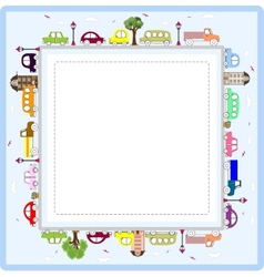 Baby greeting card or frame with cars vector
